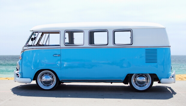 White and blue Volkswagen T1 Westfalia
