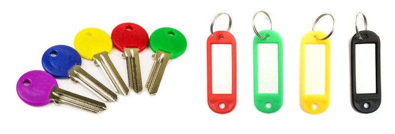 Keys organized by color codes and tags