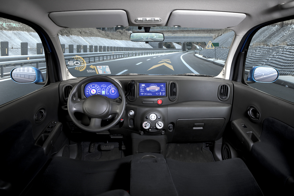 car interior with heads-up display