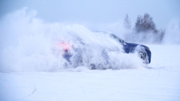 Car sliding in the snow