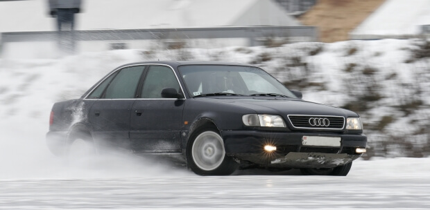 AWD car skidding in the snow