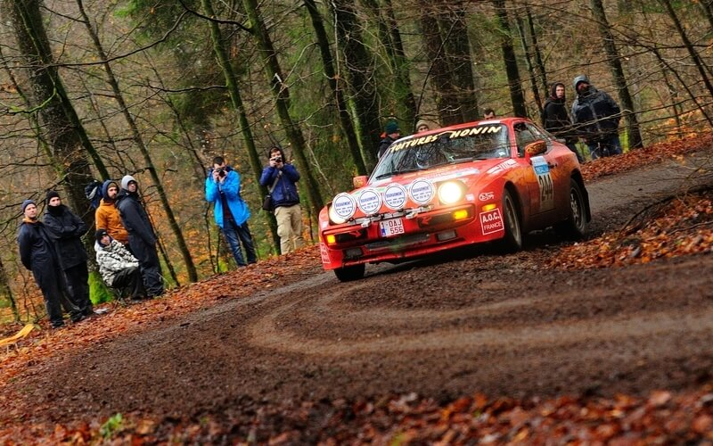A red Porsche 944 used in rallye racing