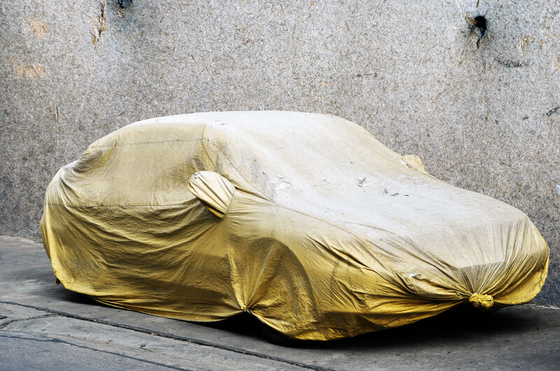 Car in storage protected by a car cover