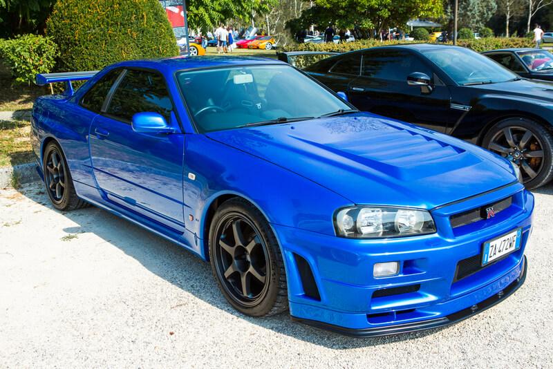 Blue Nissan Skyline GT-R R34