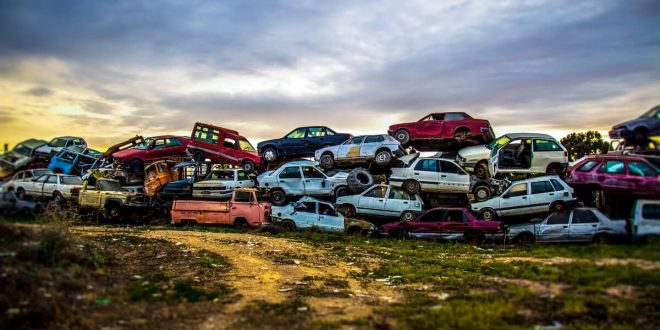 Pile of junked cars
