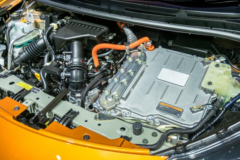hybrid pickup truck engine bay