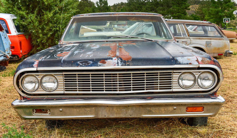 Classic car at a junkyard