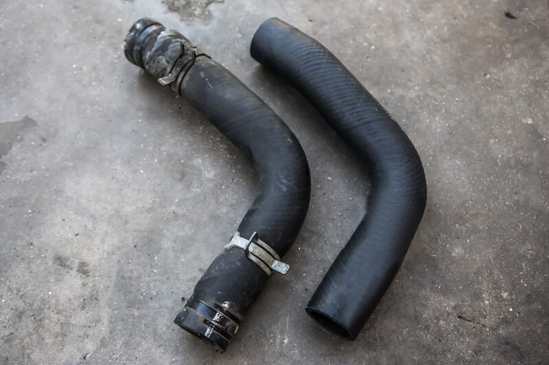 Used and new radiator hoses