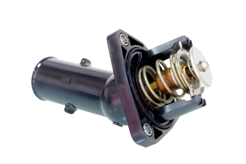 Car thermostat assembly with plastic housing