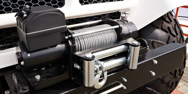 Winch installed on a white truck