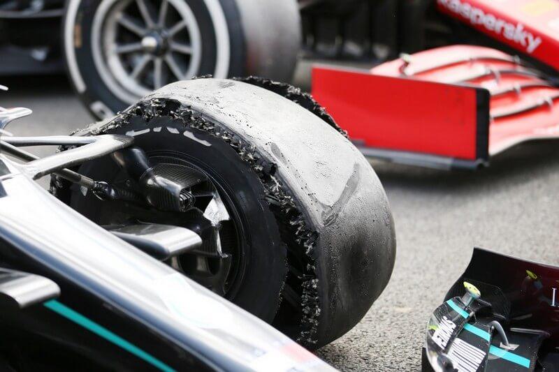 Punctured Pirelli tire