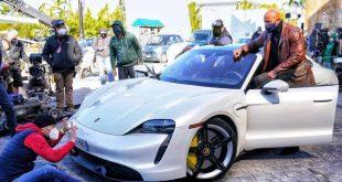 Dwayne 'The Rock' Johnson Struggles to Fit Inside the Porsche Taycan